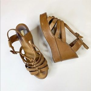 Chloe Tan Leather Sandals Wedge Platform Strappy